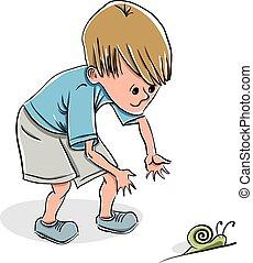 ragazzo, poco, presa, snail.