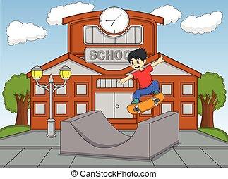 ragazzo, poco, skateboard, gioco