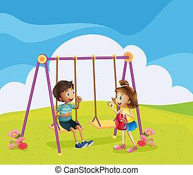 ragazzo, ragazza, campo di gioco