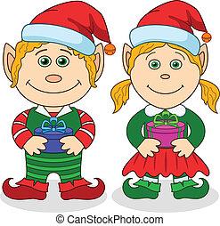 ragazzo, ragazza, elfi, natale