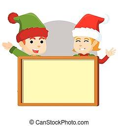 ragazzo, ragazza, elfo, natale, boa