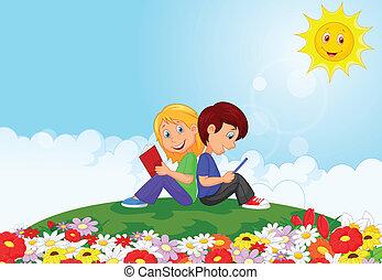 ragazzo, ragazza, libro, lettura, cartone animato