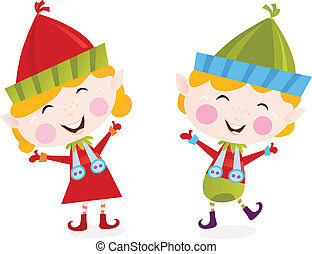 ragazzo, ragazza, natale, elfi