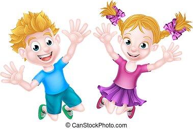ragazzo, ragazza, saltare, cartone animato, felice