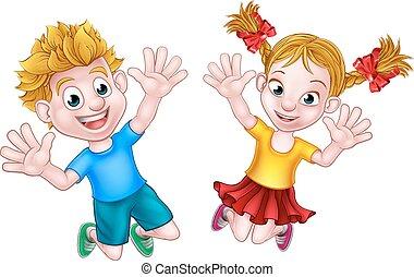 ragazzo, ragazza, saltare, cartone animato