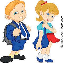 ragazzo, ragazza scuola, borsa