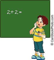 ragazzo, risolvere problema, matematica, illustrazione