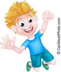 ragazzo, saltare, cartone animato, gioia