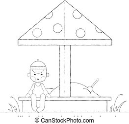 ragazzo, sandbox, contorno, gioco