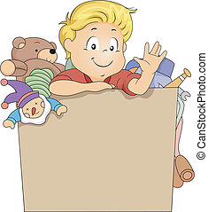 ragazzo, scatola, giocattolo, capretto