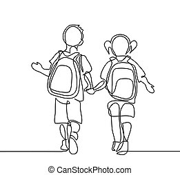 ragazzo, scuola, bags., indietro, andare, ragazza