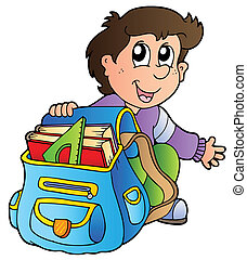 ragazzo, scuola, cartone animato, borsa