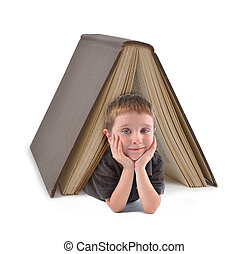 ragazzo, scuola, libro grande, sotto, educazione