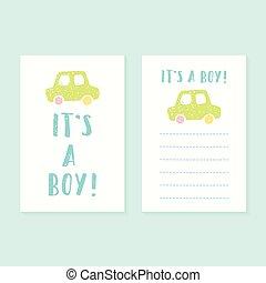 ragazzo, set, printable, 2, born., bambino, giftcards