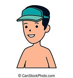 ragazzo, shirtless, berretto, sport, giovane