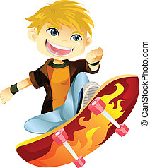 ragazzo, skateboarding