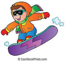 ragazzo, snowboard, cartone animato
