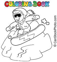 ragazzo, snowboard, libro colorante