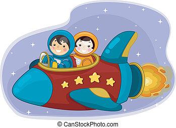 ragazzo, spazio, astronauti, sentiero per cavalcate, nave, ragazza