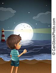 ragazzo, spiaggia, giovane