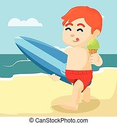 ragazzo, spiaggia, mangiare, gelato