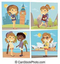 ragazzo, spiaggia., turista, illustrazione, girl., vettore, traveler., macchina fotografica., ragazza