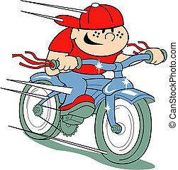 ragazzo, stile, arte, clip, bicicletta, retro