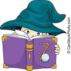 ragazzo, studio, mago, libro, capretto