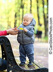 ragazzo, suo, vecchio, anno, parco, uno, autunno, madre, bambino