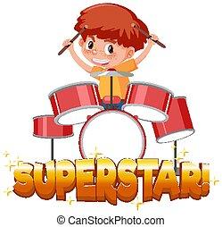 ragazzo, tamburi, gioco, font, parola, sagoma, disegno, superstar