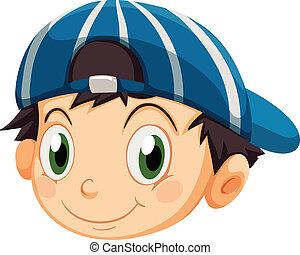 ragazzo, testa, berretto, giovane
