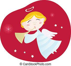 ragazzo, tromba, natale, angelo