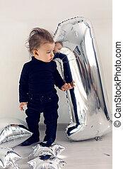 ragazzo, uno, nero, anno, bambino, argento, vestiti