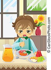 ragazzo, verdura, mangiare