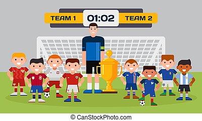 ragazzo, vettore, campione, sport, cartone animato, illustrazione, allenatore, squadre soccer, footballing, scopo, football, trofeo, carattere, tazza, campo