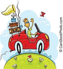ragazzo, viaggiare, guidare, automobile