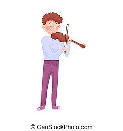 ragazzo, violino, gioco, vettore, illustrazione, strada, giovane