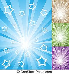 raggi, colorare, luce, astratto, stelle, stripes., bianco