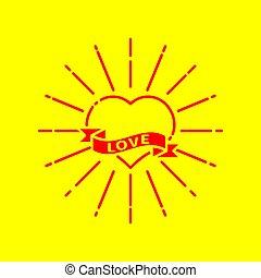 raggi, cuore, tatuaggio