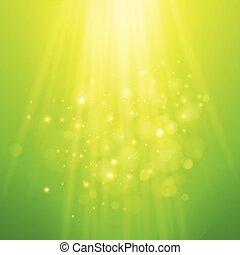 raggi, light., sfocato, bokeh, vettore, sfondo verde