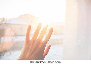 raggi, luce, fuori, mano, sole, dita, dorato, spalmare, femmina