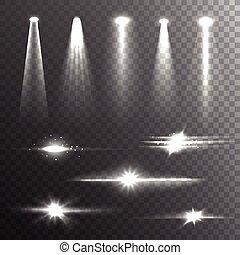 raggi, luce nera, composizione, bianco