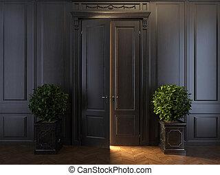 raggi luminosi, porta, dietro