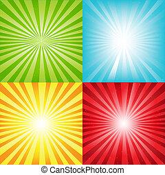raggi, luminoso, sunburst, fondo, stelle