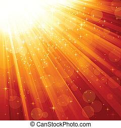 raggi, magia, stelle, luce, discendere