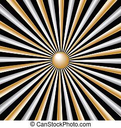 raggi, oro, sfondo nero, sunburst, argento