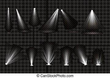 raggi, riflettori, pavimento, luce, proiettori