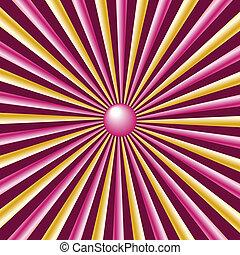 raggi, rosa, oro, borgogna, fondo, sunburst