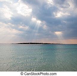 raggi, sea., light., sopra, tramonto