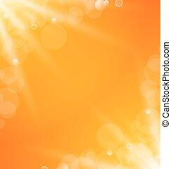 raggi, sole, astratto, luminoso, fondo, luce, arancia